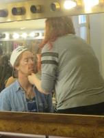 Pierre gets make-up on