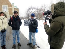 Filming in the snow